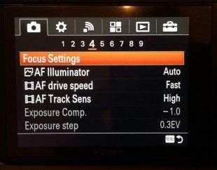 Auto focus tracking settings!
