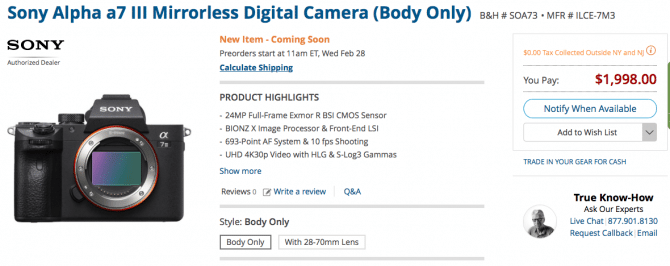 Sony launch their new full frame entry level A7III | Philip